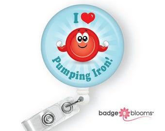 Robby RBC - Medical Lab Tech Gifts - Blood Cell Badge Reels - Retractable ID Badge Holder - Cute Badge Clip - Phlebotomy Humor - BadgeBlooms