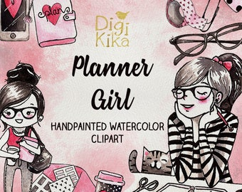 Planner Girl Clipart, Hand Painted Watercolor Clip Art, Planner Girl Wartercolor Clipart, Planner Girl Graphics, Planner Supplies, Hand Draw