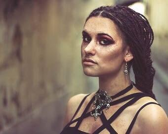 Necklace silver black embroidered satin Arabesque Taylor Momsen punk goth ♰ Pretty Reckless ♰