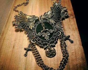 Pentagram ♰666 Antichrist 666♰ ormolu lace bib necklace