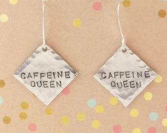 Caffeine Queen, Stamped Earrings