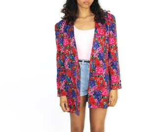 Floral Blazer - Exaggerated Shoulder Pads Fitted Tailored 1980s Womens Size 8 Medium Jewel Tones Pink Red BIG SHOULDER PADS Fitted Jacket