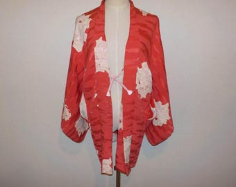 Vintage haori - Rose, Poppy red, 60s