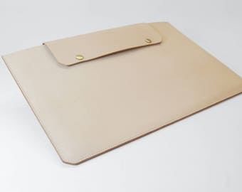 Natural Leather MacBook 13 inch Case/Sleeve - Free Monogram Embossing Initials/Name - Handmade in England
