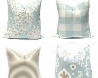 15% Off Sale Decorative Pillows Green Pillow Mint Green Pillow cover Spa Blue Pillow Cover Throw Pillow covers Accent Pillow Tan Pillow Ikat