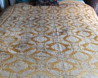 Vintage Italian Tapestry Bedspread, Queen Bedding, Gold, Hollywood Regency