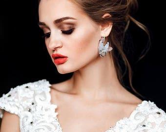 SALE Butterfly wedding earrings, blue wedding earrings, butterfly earrings, long wedding earrings, blue butterfly earrings, wedding bridal j