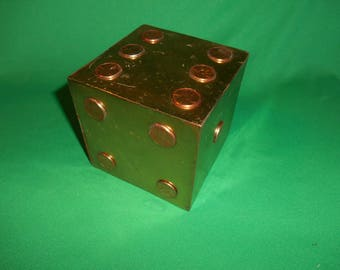 """One (1), 4"""" Square, Metal Dice, with 1982 Lincoln Pennies, for Spots."""