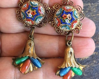 1stDayofSummerSALE Micro Mosaic Reign Bridal Jewelry Earrings Czech Glass Blue Red Vintage 1930 1940 Renaissance Wedding