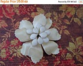 ON SALE Vintage Ivory Enamel Flower Brooch, Bridal Brooch Bouquet, Wedding, 3 Dimensional, Collectible Jewelry, Pin, Antique White, Off Whit