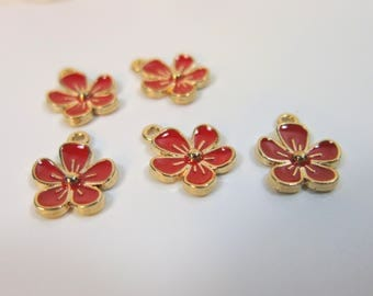 Red Enamel Flower Charm, Small Red Charm,  Red & Gold Charm, Flower Charm 13x16mm, Bracelet Charm, Set 5 charms, Charm for earrings SP-119