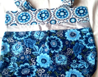 Blue Floral Reversible Tote Bag