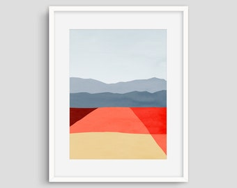Au milieu du siècle moderne Art Print, Abstract Art mural, affiche minimaliste, décor de bureau, paysage abstrait, Salon décor, Art mural rouge