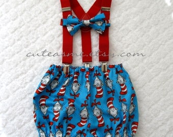 Smash Cake Outfit Boy Girl 1, 2, or 3 piece Diaper Cover Bow Tie Suspenders First Birthday 1st Birthday Cat in the Hat Dr. Seuss Photoshoot3