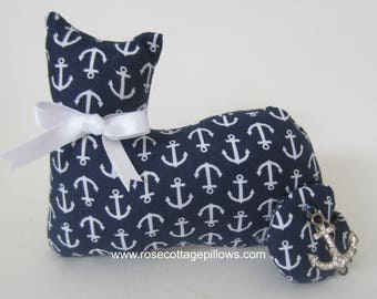 Fabric Cat Doll, Cat Shelf Sitter, Pillow Tuck, Blue with White Anchors, Anchor Charm, Nautical Kitty Cat Decor