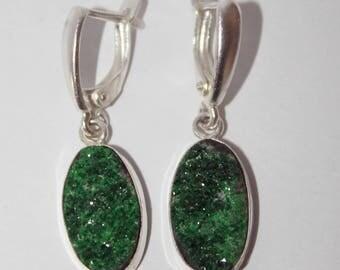 Uvarovite earrings, green garnet earrings, FREE SHIPPING