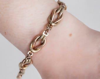 Antique Bracelet - Antique 14k Rose & Green Gold Twisted Link Textured Bracelet