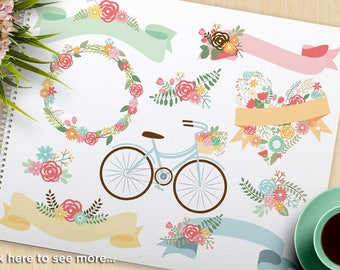 Springtime Bicycle Clipart - Flower Wreaths & Laurels, hipster, boho, wedding clipart, ribbons, commercial use, vector clipart, SVG Cut file