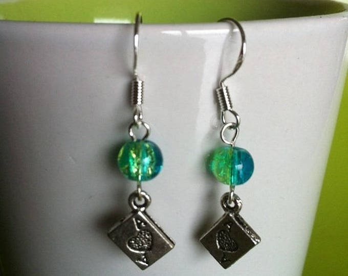 POKER earrings green and turquoise beads