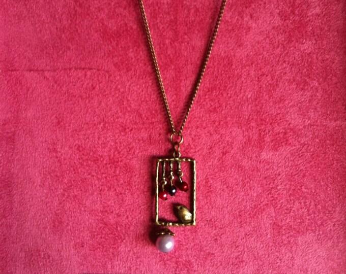 Necklace chain brass window bird purple 026