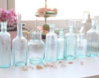 BOTTLES, Beach Decor, Antique, Hand Blown, Pontil Mark, Aqua Bottles, Set of 8, Message in a Bottle - c. Late 1800's - Early 1900's