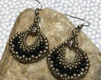 Silver Fan Earrings Woven Drop Earrings Beadwork Earrings Silver Bead Earrings Beadwoven Earrings Bead Dangle Earrings Beaded Dangles