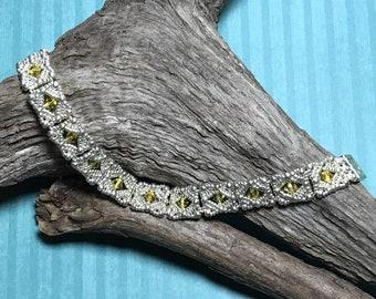 Metallic Bracelet Beadwoven Bracelet Silver Gold Bracelet Beadwork Bracelet Silver Link Bracelet Beaded Tile Bracelet Size 6 3/4 Bracelet