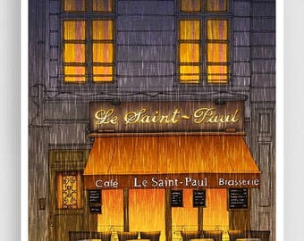 30% OFF SALE: Paris illustration - Rainy day - Illustration Giclee Art Print Paris in the rain Prints Posters Home decor Wall decor Architec