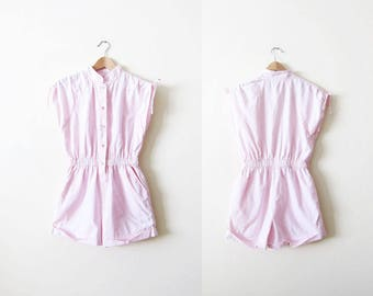 Vintage Womens Romper - 80s Romper - Pink Romper - Playsuit - 80s Clothing - Pastel - Vacation Clothes - Romper Medium - 80s Shorts