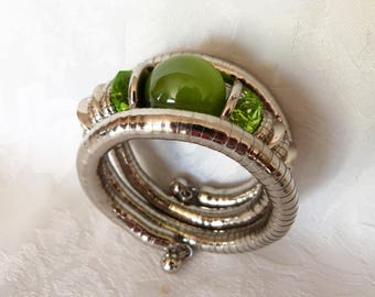 silver metal, large bead and two swarovsky beads Cuff Bracelet