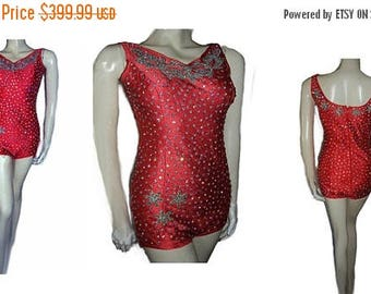 SUMMER SALE Vintage Sparkling Rhinestone Encrusted Swimsuit Scarlet Pageant swimsuit glamorous swimsuit vintage swimwear bathing suit  rhine