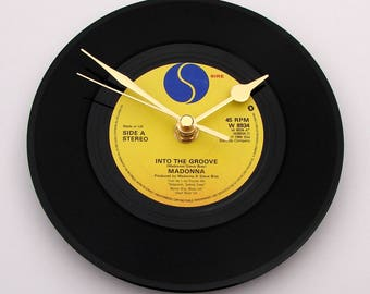 "MADONNA Vinyl Record CLOCK  ""Into The Groove"" Wall clock made from a 7"" vinyl record. 1980s pop music, Fun girls gift, black yellow blue,"