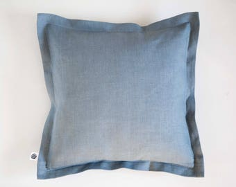Blue linen throw pillow, european linen pillow cover, dusty blue decorative pillowcase for sofa or couch decor, custom size available