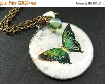 SUMMER SALE Green Butterfly Necklace. Butterfly Pendant with Fresh Water Pearl and Green Teardrop. Handmade Jewelry.