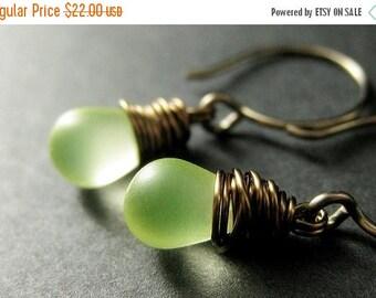 VALENTINE SALE BRONZE Earrings. Lemon Drop Earrings. Teardrop Earrings. Lemon Lime Earrings. Wire Wrapped Dangle Earrings. Frosted Glass Han