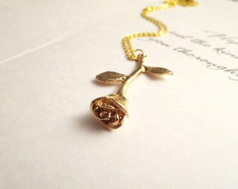 Rose necklace -Gold Rose necklace, Amber  Necklace - Rose Stem Pendant - Wedding, Bridesmaids Gifts, Free Gift With Purchase