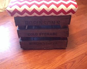 Vintage Apple Crate Stool/Ottoman