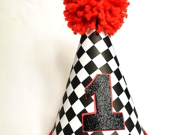 Boys Birthday Hat // Boys 1st birthday hat // First Birthday Hat // Boys Racing Birthday Hat