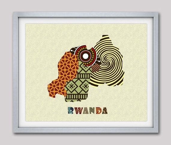 Rwanda Map Art Print Wall Decor, Rwanda Poster, Kigali Rwanda  African Art Print, African Map, Africa, Rwanda, Rwandese East Africa