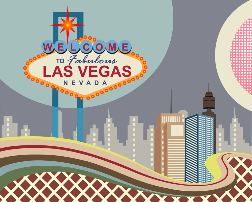 Las Vegas Skyline, Nevada City Poster, USA Art, Tourism