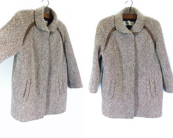 Vintage Tweed Pure Wool Maternity Swing Trapeze Coat Jacket Brown - Size 14/16