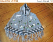 50% off Rare Size 2 3 4 OTAVALO girl Gray Grey Hand knit embroidered 3-D Desert Aztec Southwestern Motif sweater Cape Poncho Pullover Hoodie