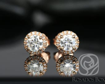 Rosados Box Gemma 5mm 14kt Rose Gold Round F1- Moissanite and Diamonds Halo Stud Earrings