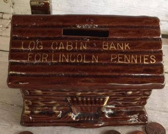 Log Cabin Coin Bank, Bank for Lincoln Pennies, Money Saver, Mid Century Collectible, Abe Lincoln, House Shaped Container