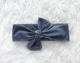 Bohemian Babies solid gray head wrap//Charcoal headband//Tie headband//Toddler head wrap//Baby head wrap//One size fits all//Made to order
