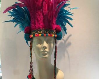 Pom pom headpiece- Feather Headdress -Tribal headdress -Music Festival wear- Burner Head piece-  Pom pom headdress- feather headdress