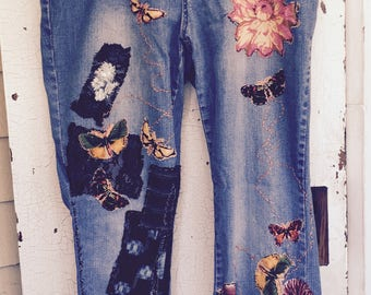 BORO HOBO JEANS, Japanese Vintage Fabrics, Hand Embroidered Artisan Jeans, Plus Size