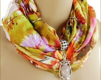 Scarf jewelry / bail - pendant rose Quartz and gorgeous scarf silk/multicolored butterflies