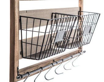 Rustic Metal Wall Basket Decor, Metal Wire Basket With Hook Vintage, Farmhouse Decor Wood Wall Decor with Baskets & Hooks