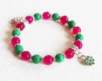 Bracelet Pierres de Gemmes - Deux Coeurs Précieux - Agate rose et Jaspe vert, Breloques - Bijou créateur, fait main, pièce unique